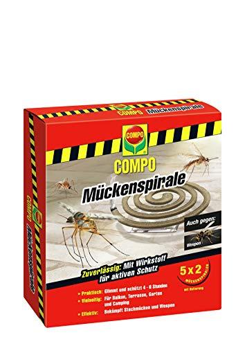 COMPO Mückenspirale, Schutz vor Stechmücken und Wespen, 10 Spiralen inkl. Halterung, Braun