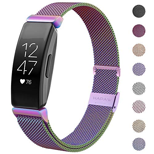 HAPAW Bands Compatible with Fitbit Inspire HR, Inspire Metal Band Accessories Stainless Steel Mesh Bracelet Women Men Wristbands Strap for Inspire & Inspire HR Fitness Tracker