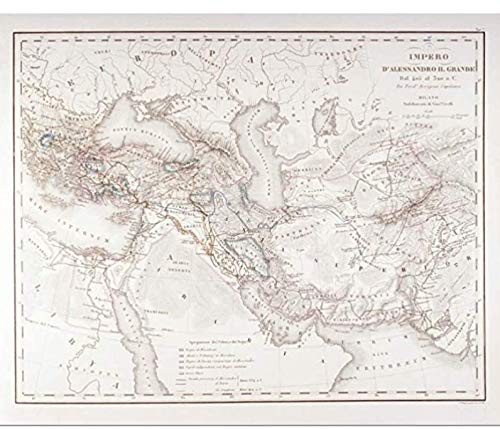 Mapa del imperio de Alejandro Magno, póster de bellas artes, mapa, decoración del hogar, arte, lienzo, pintura, carteles, regalo (60 x 80 cm), 24 x 32 pulgadas, sin marco