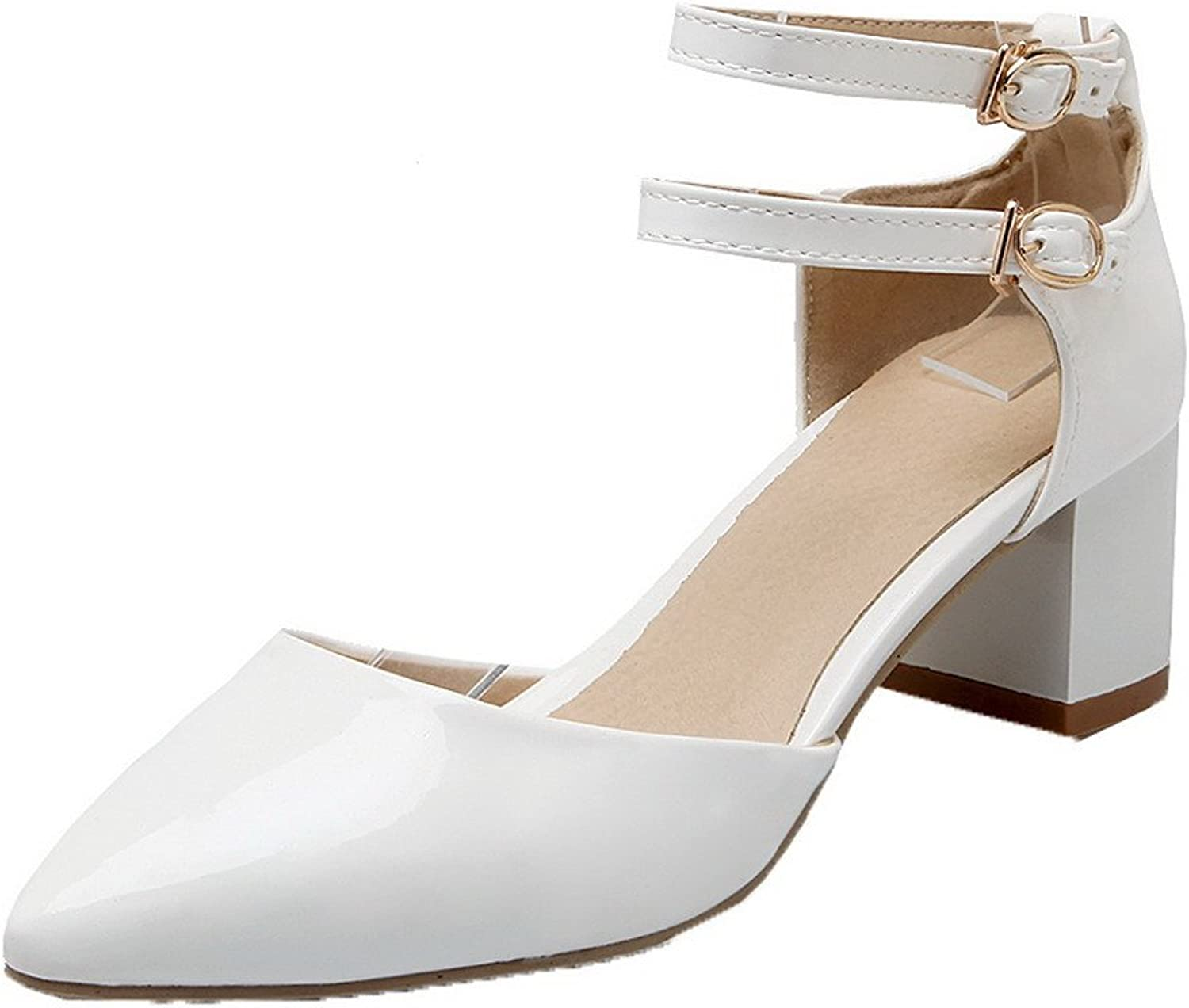 WeiPoot Women's Patent Leather Kitten-Heels Closed-Toe Solid Buckle Sandals