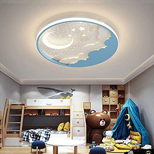 WJLL Lámpara De Techo Moderna Plafón para Habitación Infantil LED Regulable con Control Remoto Iluminación De Techo Estrellas Redondas Luna para Niños Niñas Luz De Dormitorio Acrílico Araña,Azul,50cm