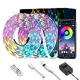 Ruban LED Bleutooth,2×5M Bande LED 5050 RGB IP65 Multicolores Améliorée,Contrôlé par APP du Smartphone, avec Télécommande à 24 Touches,Synchroniser avec Rythme de Musique [Classe énergétique A+++]