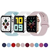 Idon 3-Pack Sport Band Compatible for Apple Watch Band 38MM 40MM S/M, Soft Silicone Sport Bands Replacement Strap Compatible with Apple Watch Series 5/4/3/2/1, Turquoise + Pink Sand + White
