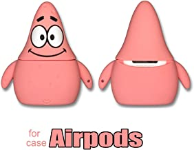 AirPods Case Soft Silicone Shockproof Cover for Apple Airpods 2 & 1, Sponge Baby Patrick Star Spongebob Squarepants Cartoon Unique Design Skin Kits with Carabiner Holder for Air Pods (Patrick Star)