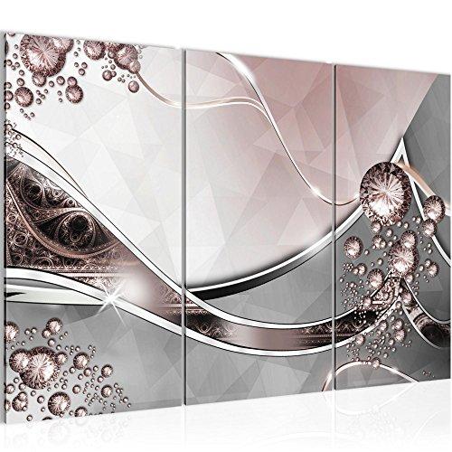 Bilder Abstrakt Wandbild 120 x 80 cm Vlies - Leinwand Bild XXL Format Wandbilder Wohnzimmer Wohnung Deko Kunstdrucke Rosa Grau 3 Teilig - Made IN Germany - Fertig zum Aufhängen 109131a