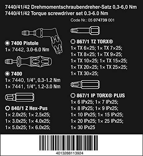 Wera - 5074739001 Kraftform 7440/41/42 Torque Screwdriver 0.3-6.0 Nm and Bit Set, 27-Piece
