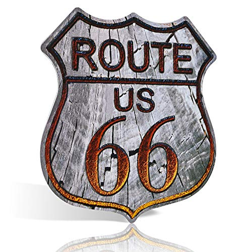Route 66 Schilder, Vintage-Metall-Gartenschild, U.S. 66 High Way Road Blechschild für Zuhause & Garage Wanddekoration