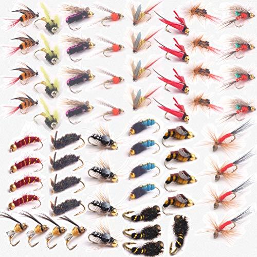 JasCherry Angel-Fliegen Kunstköder Fliegenköder Fliegen Fischen Köder mit wasserdichte Box, Perfekt zum Angeln Barsch Forelle Dorsch Angelzubehör