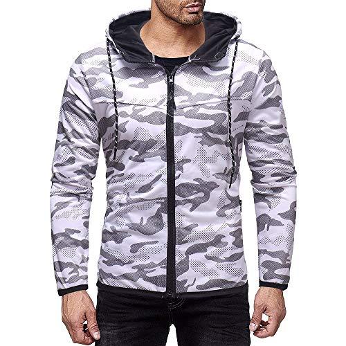 YUUINB Yuinb Herren Blousons Mantel Kapuzenpullover Langarm mit Reißverschluss Hemd Herbst Winter Warm Camouflage Slim Gr. 56, weiß