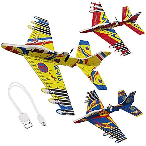 ZoneYan 3 Piezas Aviones de Juguete para Niños, Avión Planeador, Exterior Planeadores Niños, Planeador de Espuma, Carga USB, Color Aleatorio, Ideal para Amantes de los Vuelos