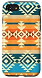 iPhone SE (2020) / 7 / 8 Unique White Turquoise Orange Blue Aztec Navajo Pattern Case