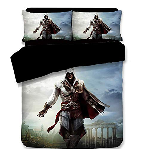 LHKAVE Juego de sábanas de Cama Assassin'S Creed de Last Descendants 3D Funda nórdica Funda de Almohada Juego de Cama de Funda de edredón de Tres Piezas,A,Twin