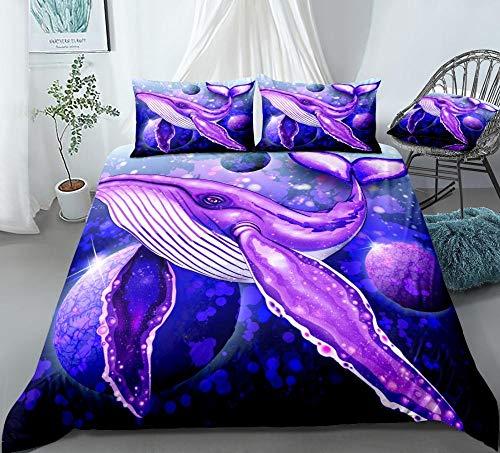 Aolomp Ensemble de literie 3D Textiles de Maison 2/3 pièces Motif de Baleine d'animaux de mer Ensemble de Housse de Couette et taie d'oreiller 220 cm * 240 cm