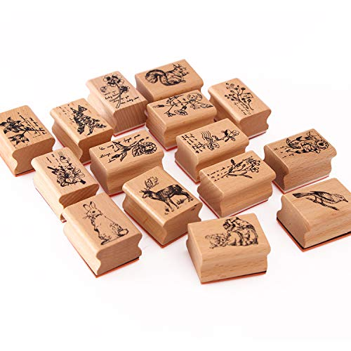 15pcs Wooden Rubber Stamps Animals and Plants Patterns Stamps Set for DIY Craft Card Scrapbooking Supplies