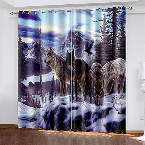YUNSW 3D Digital Printing, Blackout Heat Insulation And Noise Reduction Polyester Curtain, Wolf Pattern, Suitable For Living Room And Bedroom, With Perforated (Total Width) 183x(Height) 214cm