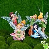 Diyiming 6 Piezas de Hadas de Flores, Hadas, alas de Mosca, Familiares, Miniatura, Hadas, niñas, casa de muñecas, Accesorios de Adorno de jardín