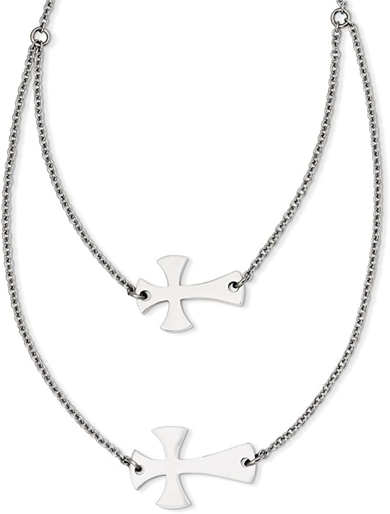 Solid Stainless Steel Double Sideways Pendant Cross Recommendation Layered Neck Tucson Mall