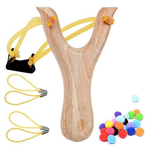 BESTZY Steinschleuder Zwille Schleuder aus Holz,2er Ersatzgummi + 100 Sorten Munition - Outdoor-Zwille für Sport,Jagd,Angeln und Baumpflege (Set)