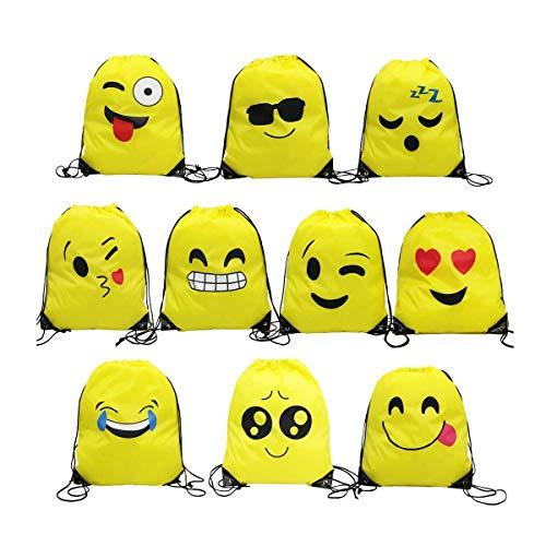 Tangger Emoji Rucksack, 10 Stück Emoji Turnbeutel für Kindergeburtstag Partytüten Geschenktüte Partyzubehör Mitgebsel Weihnachten Halloween