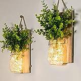 Apliques de Pared Rústicos Apliques de Tarro de Masón Decoración para el Hogar de Granja Luces LED de Hadas Planta Falsa Verde Decoración de Interiores por Cuarto de Baño Sala Cocina (Juego de 2)
