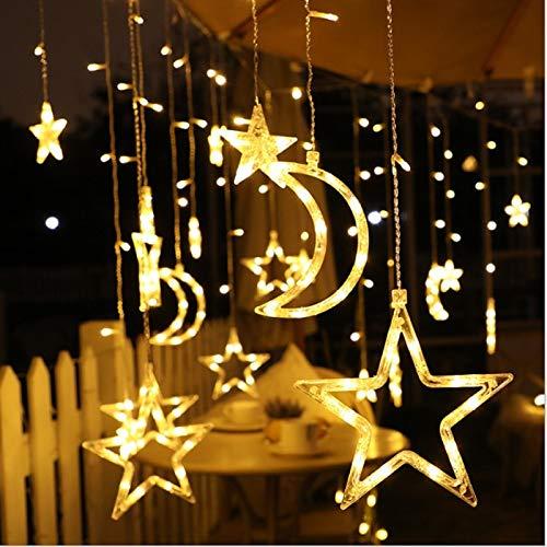 Guirnalda luminosa de 3,5 m, con diseño de estrella, luna solar, 8 modos de luces de hada, colgantes, impermeables, brillantes con mando a distancia para ventanas o patio (blanco cálido)