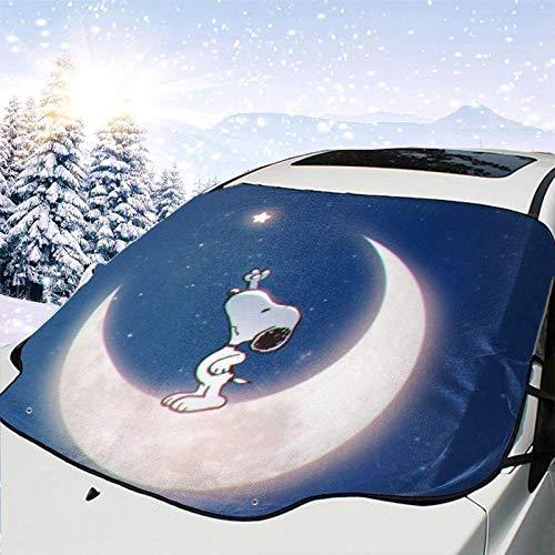 AEMAPE Moon Sn-oopy Multifunktionsauto Windschutzscheibe Schneedecke Auto Sonnenschutz wasserdichte Windschutzscheibe Winterabdeckung für EIS, Schnee, Frost, Sonnenschutz - 147 x 118 cm