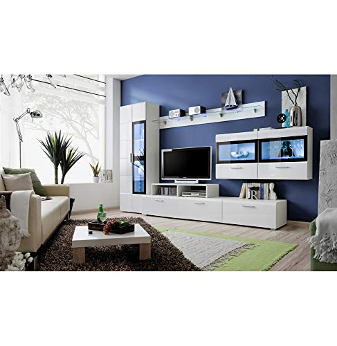 ASM Ensemble Meuble TV Mural - Krone Iv - 270-300 Cm X 182 Cm X 45 Cm - Blanc