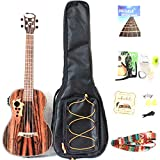 30 Inch All Blackwood Baritone Acoustic Electric Ukulele With Truss Rod with EQ with Gig Bag,Strap,Nylon String,Electric Tuner,Pick,shaker