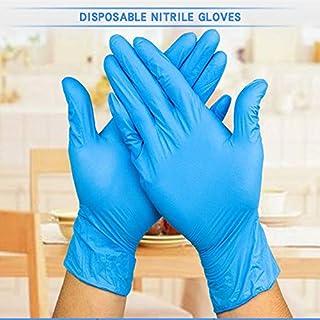 ニトリル医療グレード試験用手袋、使い捨て、ラテックスフリー、100カウント衛生手袋 (Color : Blue, Size : L)
