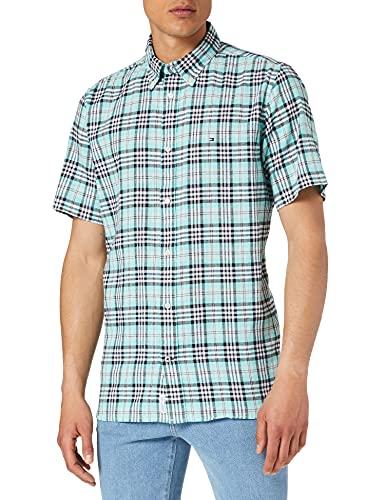 Tommy Hilfiger CO/LI Check Shirt S/S Camisa, Miami Aqua/Multi, L para Hombre