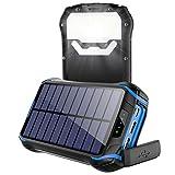26800mAh Batterie Externe Solaire, Soluser Chargeur Solaire [4 LED Indicateurs de Niveau de Charge] Ultra-Haute Capacité Solaire Power Bank avec 18 Lampe LED et Crochet pour Smartphones
