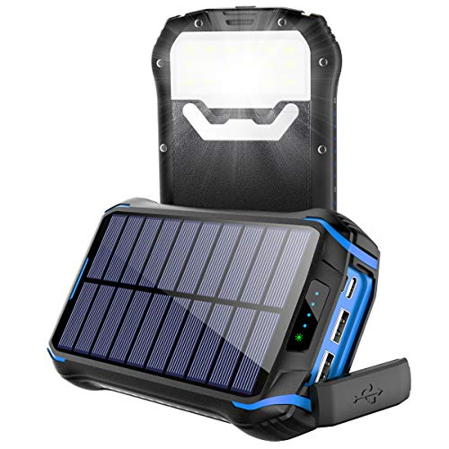 Cargador Solar 26800mAh, Solar Power Bank con 3 Puertos USB, Soluser Batería Externa Solar 18 LED Linterna con Tecnología de Detección Automática para Smartphones, Tabletas y Dispositivos USB