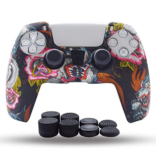 PS5 Controller Skin,Silicone Grips for Playstation 5 PS Controller Anti Slip Cover Case Protector for Dual Sense 5 Controller(WingGrey) - 8pcs Pro Thumb Grips