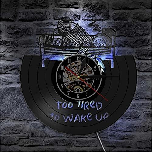 LTMJWTX Demasiado Cansado para Despertar Reloj de Pared con Disco de Vinilo Iluminado con LED Lámpara de Pared para Dormir Reloj sin tictac Vintage Decoración del hogar
