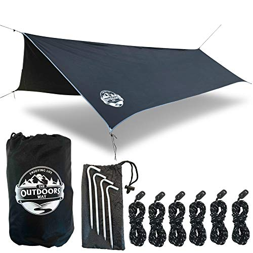 The Outdoors Way Hammock Tarp- 12' Quality Rain Fly for Extreme Waterproof Protection, Large Canopy is Portable and Provides Ideal Shelter for Your Camping Hammock Or Tent. Performance Delivered!