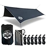 The Outdoors Way Hammock Tarp- 12 Foot Rain Fly for Extreme Waterproof Protection, Large Canopy is Portable and Provides Ideal Shelter for Your Camping Hammock Or Tent.
