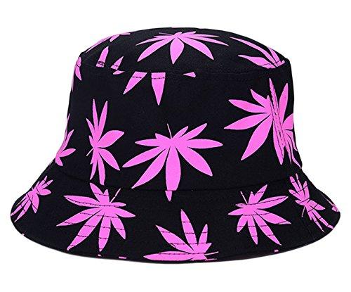 EOZY Unisex Sonnenhut Bucket Hat Fischerhut Cannabis Muster Mütze Rosa