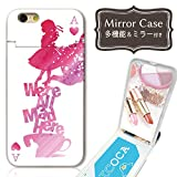 301-sanmaruichi- iPhone8 ケース iPhone8 ケース ミラーケース 鏡付き ミラー付き カード収納 おしゃれ アリス 童話 ワンダーランド ピンク トランプ ねこ ネコ 猫