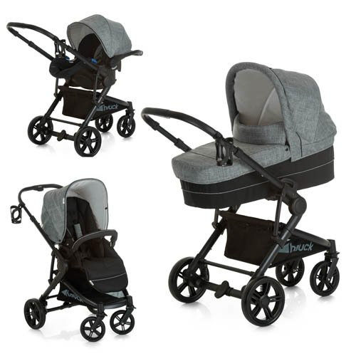 Hauck Atlantic Plus Trio Set, From Birth to 22Kg Travel System including Group 0+ Car Seat, compatible with optional ISOFix Base, Carry cot and Raincover, Melange Grey
