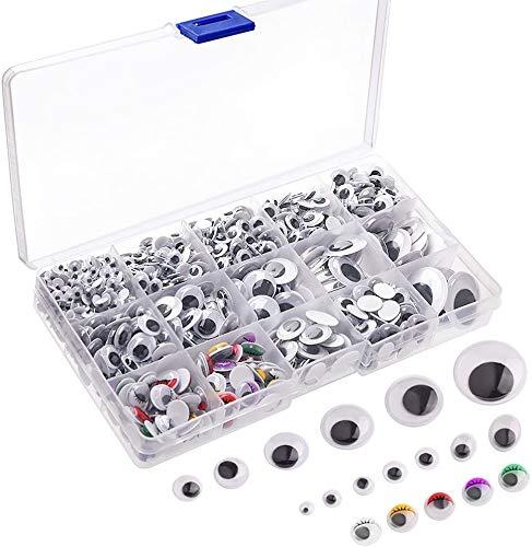 Queta 1150 Stück Selbstklebend Augen zum Basteln Wackelaugen Puppenaugen für DIY Scrapbooking Handwerk Spielzeug Zubehör (Verschiedene Größen)