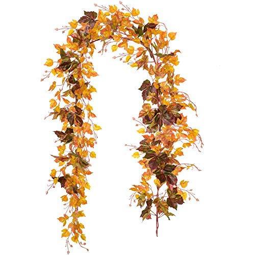 2 unidades de guirnalda de hojas de arce, guirnalda de hojas de arce, guirnalda de vid colgante de 2 m