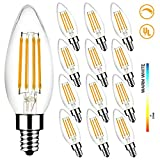 LED Light Bulbs 60W Equivalent, MEGAMAN B10 E12 5W 2700K Dimmable Candelabra Led Bulbs for Ceiling Fan and Chandelier, 500LM, CRI85, UL Listed (12-Pack)