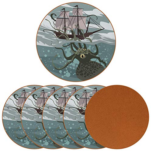 Drink Coasters Set of 6 - Protect Furniture from Water Marks & Damage, Coaster with Non-Slip Bottom for Coffee Beer Mug Wine Glass Gray green octopus boat