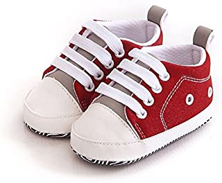 FemmeStopper Baby Shoes Unisex Baby Boy Baby Girl 5-10 Months (13cm) Soft Sole First Walkers Canvas Sneaker Prewalker 1 Year Baby Shoes