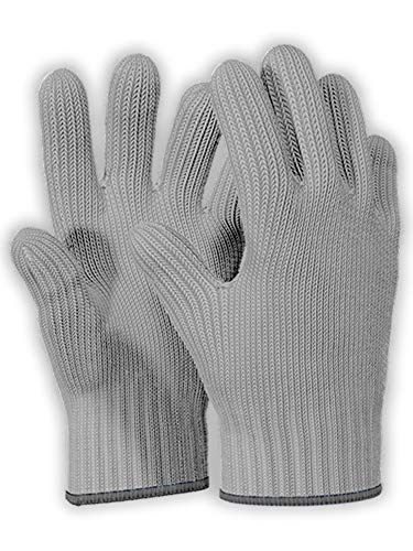 1 Pair Grey Heat Resistant Gloves Oven Gloves Heat Resistant With Fingers Oven Mitts Kitchen Pot Holders Cotton Gloves Kitchen Gloves Double Oven Mitt Set Oven Gloves With Fingers (Grey, 2pcs)