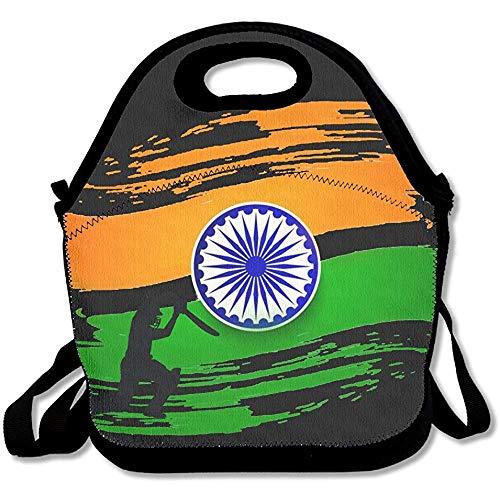 Picknicktaschen,Indien Flagge Splat Cricket Lunch Bag Tote Handtasche Lunchbox Für Schularbeiten Im Freien