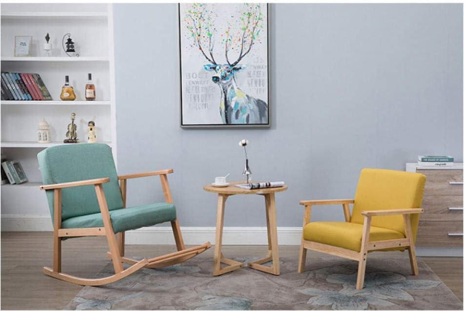 LLSS Chaise à Bascule en Bois Massif Chaise de Loisirs Paresseux Chaise de Siesta Adulte Chambre Salon inclinable Fauteuil de Bureau Portant Poids 200Kg Blue