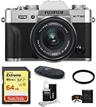 $999 Get FUJIFILM X-T30 Mirrorless Digital Camera (with XC 15-45mm Lens 64GB Bundle, Silver)