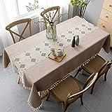 Pahajim Mantel Antimanchas Algodon Lino Elegante Impresos Manteles Resistente Borlas Table Cloth Rectangular Decorativo para Reuniones Familiares de Cocina (Marrón,140x140cm)