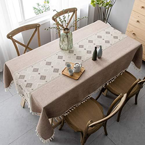 Pahajim Elegant Baumwolle Tischdecken im chinesischen Stil, Tischdeckenbezug Leinen Waschbar Tischdecke für Familientreffen Tischdekoration(Gitter - Kaffee, Rechteckig/Oval, 140 x 220 cm)